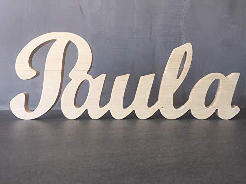 Nombre decorativo de madera natural para habitación dormitorio de niño, niña, regalo nacimiento, bautizo, comunión, aniversario.
