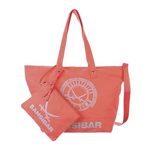 Sansibar Strandtasche Beach Bag mit abnehmbaren Henkel M Coral