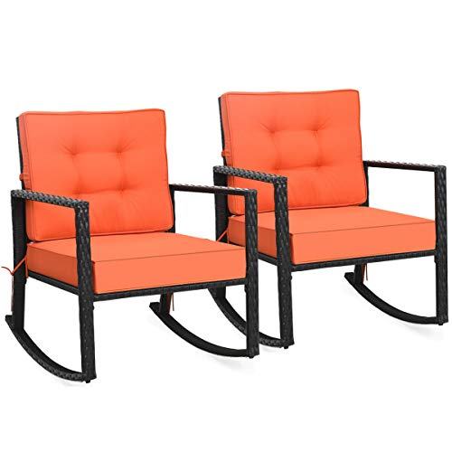 """Tangkula Wicker Rocking Chair, Outdoor Glider Rattan Rocker Chair with Heavy-Duty Steel Frame, Patio Wicker Furniture Seat with 5"""" Thick Cushion for Garden, Porch, Backyard, Poolside (2, Orange)"""