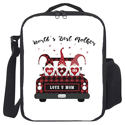 Insulated Lunch Bag, Prep Meal Box for Kids Teens Adults | Leakproof Lunch Pail Cooler Bag with Shoulder Strap for Work/School/Picnic, World's Best Mother with Plaid Truck and Gnome Pattern