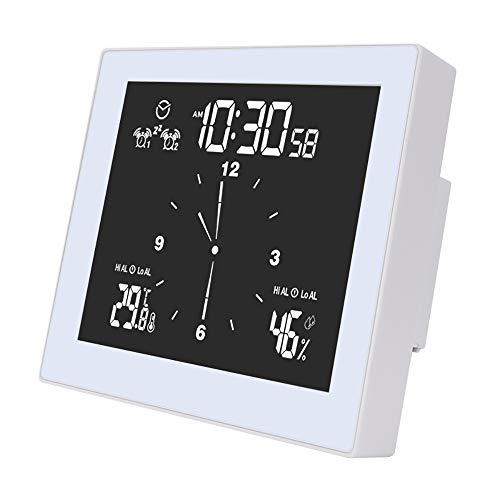 LTXDJ Reloj de baño con pantalla VA, termómetro digital inteligente, reloj higrómetro con función de temporizador, impermeable, retroiluminado, para dormitorio, baño, oficina