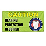 by Unbranded Vinyl Banner Caution Hearing Protection Required Yard Sign H-Stakes Decorations 2021 Lawn Signs Weather-Proof Outdoor Signage Garden Porch 18'X24'