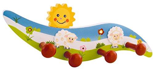 Bieco  Garderobe Kinder Schaf | Kindergarderobe Holz mit Kinder Kleiderhaken | Garderoben-Leiste | Wandgarderobe | Kleiderhaken Kinder Garderoben | Garderobenleiste Kinder 26 cm 4 Haken