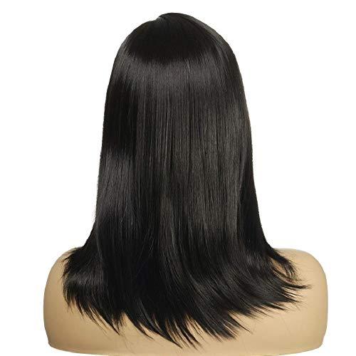 YMOY Charmant Mesdames noir cheveux longs raides perruques naturelles réalistes perruques cheveux mous,mélangeant une perruque Pixie Cut avec Bang