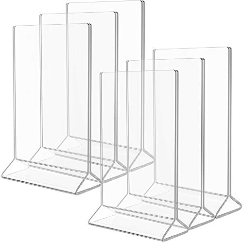 MaxGear Acrylic Sign Holder-5 X 7 inches Clear Sign Holder-Table Card Display-Table Menu Sign Holder Plastic Display Stand - Double Sided Ad Picture Frame for Office, Home, Store, Restaurant, 6 Pack