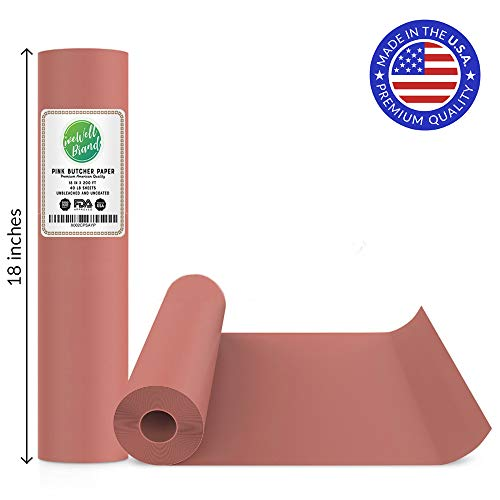 Pink Butcher Paper Roll - 18 Inch x 200 Feet (2400 Inch) - Food Grade Approved – Great Smoking Wrapping Paper for Meat of All Varieties – Made in USA – Unwaxed and Uncoated