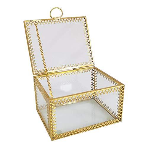 Gazechimp Caja de Recuerdos de Cristal de Estilo Vintage, Organizador de Joyas, Acento Decorativo, Tocador, Regalo de Boda para Fiesta Nupcial, Tarro Y Caja de