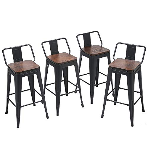 Yongqiang Metal Bar Stools with Back Set of 4 Kitchen Counter Height Stools with Wooden Seat 26' Matte Black