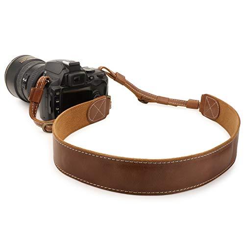 MegaGear MG1515 Sierra Series Tracolla per Fotocamera da Spalla o da Collo Regolabile in Vera Pelle, Marrone