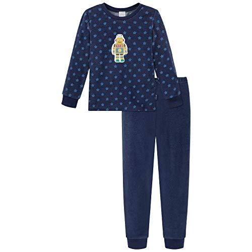 Schiesser Jungen Frottee Kn Schlafanzug Lang Pyjamaset, Nachtblau, 116