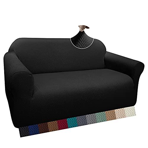Granbest Thick Sofabezug Stylish Pattern Sofaüberzug für Sofa Stretch Elastische Jacquard Sofahusse Couchhusse mit Armlehne für Wohnzimmer Anti-Rutsch(2 Sitzer, Schwarz)