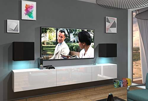 Home Direct Lace N22 1B Modernes Wohnzimmer Wohnwände Wohnschränke Schrankwand Schwarz Weiß Hochglänzend (AN22-18BW-HG5 1B (schwarz-weiß), Möbel ohne LED)