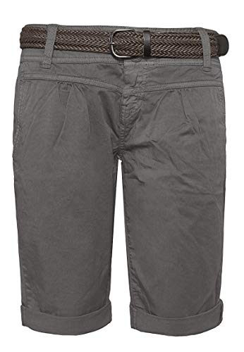 Fresh Made Fresh Made Damen Bermuda-Shorts im Chino Style mit Gürtel Middle-Grey L