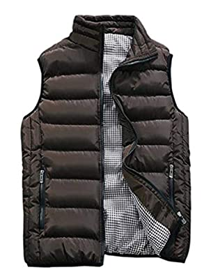 Vcansion Men's Outdoor Casual Stand Collar Padded Vest Lightweight Down Cotton Jacket Coat Vest Coffee L