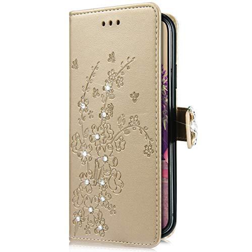 Uposao Kompatibel mit Samsung Galaxy S10e Handytasche Handy Hülle Schmetterling Blumen Bling Glitzer Diamant Muster Klapphülle Flip Case Cover Schutzhülle Brieftasche Leder Tasche,Gold