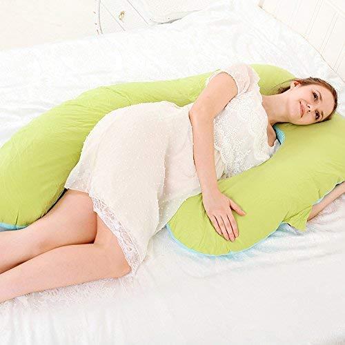 Chunjiao Mutterschaftskissen Taille Schutz seitlich Schlafkissen Mutterschaftsbedarf U-förmige multifunktionale Kissenblau U-förmiges Kissen (Color : Green and Blue)