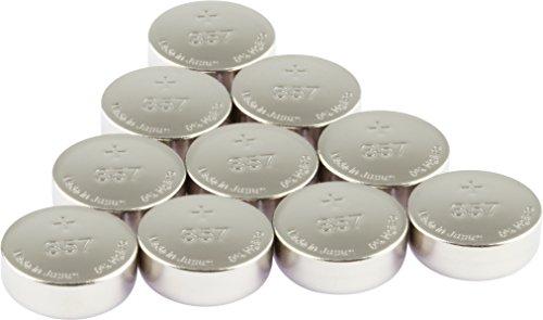 GP Uhrenbatterien 357 Ultra Plus Knopfzellen 1,55V (Batterie V357 / SR44W / D357H / V303) Silber-Oxid (ohne Zusatz von Quecksilber und Eisen), 10 Stück im Multi-Sparpack