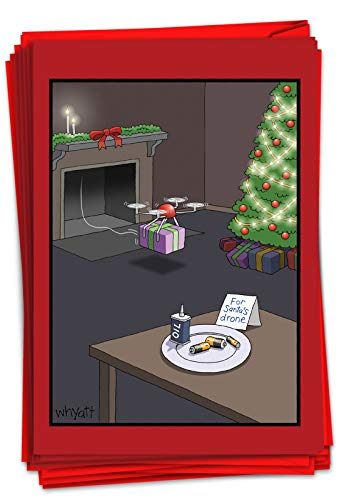 NobleWorks - 12 Funny Cartoon Christmas Cards with Envelopes - Funny Boxed Comic Humor, Holiday Greetings (1 Design, 12 Cards) - Santa's Drone C6253XSG-B12x1