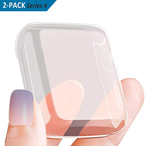 [2-Pack] SPGuard Compatible iWatch Series 4 Soft Silicone Case[40mm], All-Around Protective HD Clear Ultra-Thin Waterproof Cover for iWatch Series 4