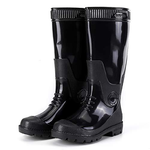CXYY Botas De Agua,Lluvia Botas Antideslizante Botas De Agua Unisex Botas De Lluvia Antideslizantes Goma Ultraligera Para Caminar Zapatos De Barro Al Aire Libre,Negro,EU42