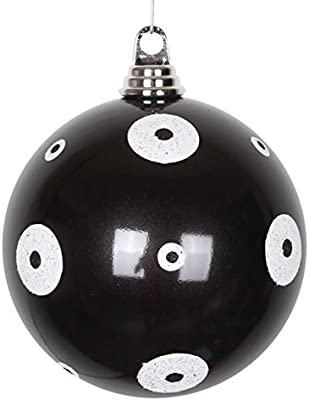 Vickerman Candy Black with White Glitter Polka Dots Commercial Size Christmas Ball Ornament, 6""