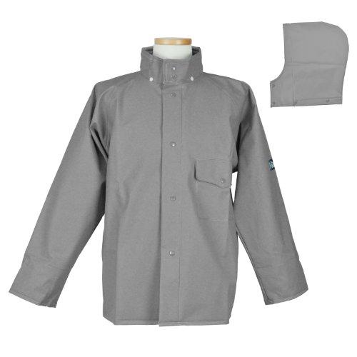 コヤナギ ミシン不使用 融着縫製 レインウェア エースガッツ ジャケット AG-35J グレー L 適応サイズ:胸囲90-98cm、身長165-170cm、胴囲78-88cm