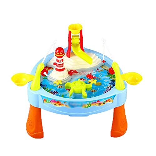 Zhenwo Water Play Table Toys, Music with A Waterslide Fishing Game Water for Activities for Children's Table,A