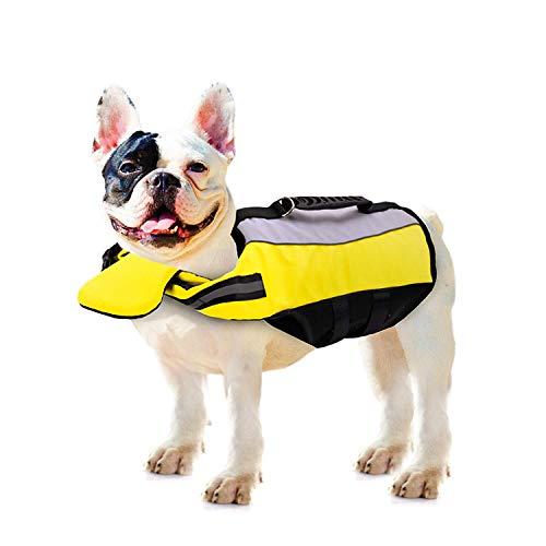 YVX Hund Schwimmweste Weste Schwimmweste Hund Auftriebshilfe Schwimmen Französische Bulldogge Schwimmweste Haustier Schwimmmantel Reflektierend mit Rettungsgriff
