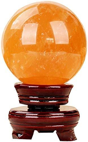 L.TSN Bola de Esfera de Cristal de Citrino Natural de Feng Shui para decoración Hecha a Mano, meditación curativa, heraldos de éxito de la Riqueza 0911