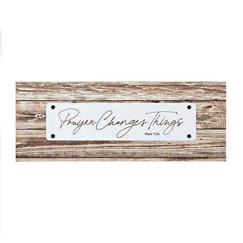 Creative Brands Faithworks - Rustic Farmhouse Inspirational Wooden Plaque, 8.5 x 3-Inch, Prayer Changes - Scripture