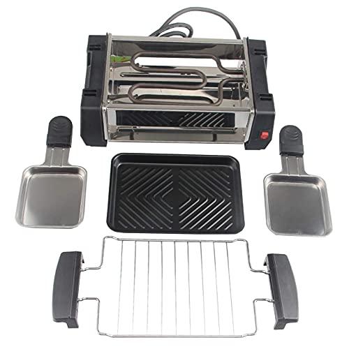 N/Z Haushaltsgeräte Raclette-Grills Leicht zu reinigen 1000 Watt Elektrischer großer Grill mit Thermostat-Wärmesteuerung mit 2 Mini-Pfannen Rauchfreier Innen-Raclette-Grill Gesundheit (Größe: 2000 W)