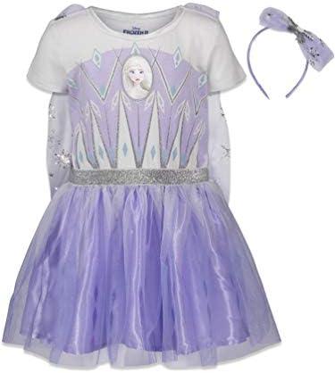 Disney Frozen Elsa Anna Toddler Girls Costume Dress Gown Headband Set 3T Purple White product image