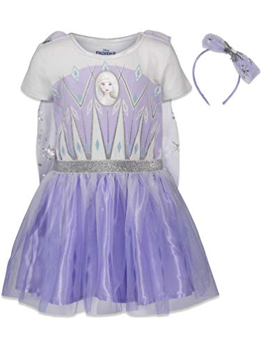 Disney Frozen Elsa Anna Little Girls Costume Dress Gown & Headband Set 6-6X Purple/White