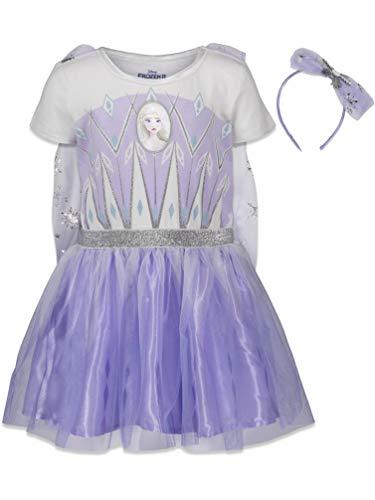 Disney Frozen Elsa Anna Toddler Girls Costume Dress Gown & Headband Set 5T Purple/White