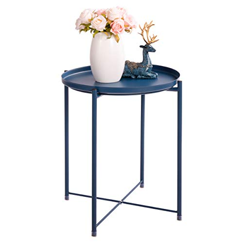 """HollyHOME Tray Metal End Table, Sofa Table Small Round Side Tables, Anti-Rust and Waterproof Outdoor & Indoor Snack Table, Accent Coffee Table,(H) 20.28"""" x(D) 16.38"""", Navy Blue"""