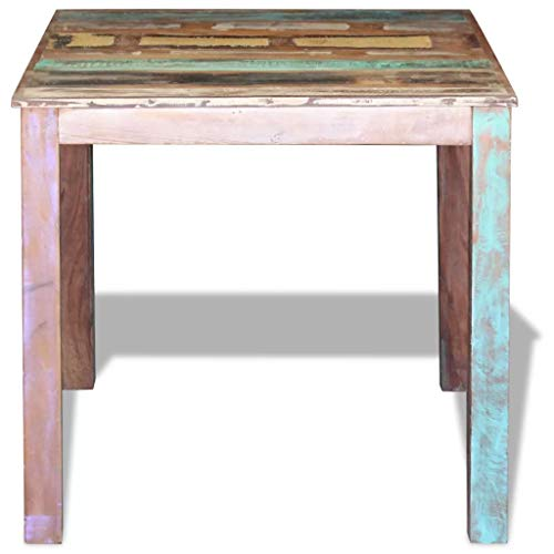 Festnight Reclaimed Wood Dining Table Rustic Square Tall Coffee Side Table Handmade for Dining Room Kitchen Home Furniture Decor 31.5 x 32.3 x 30 Inches (L x W x H)