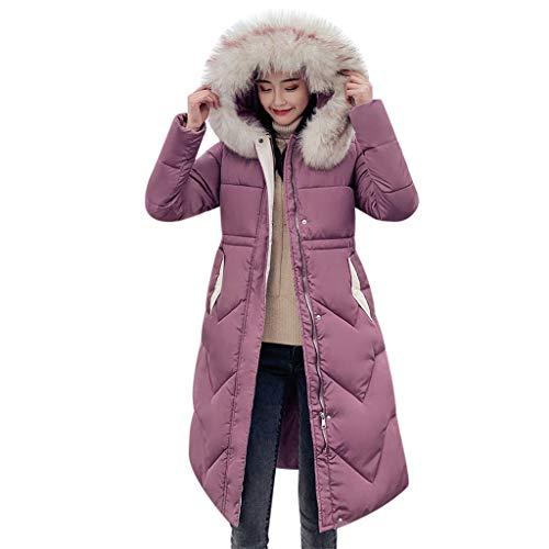 Women Down Coat E-Scenery Solid Casual Winter Warm Thicker Slim Jacket Overcoat E-Scenery Hot Pink