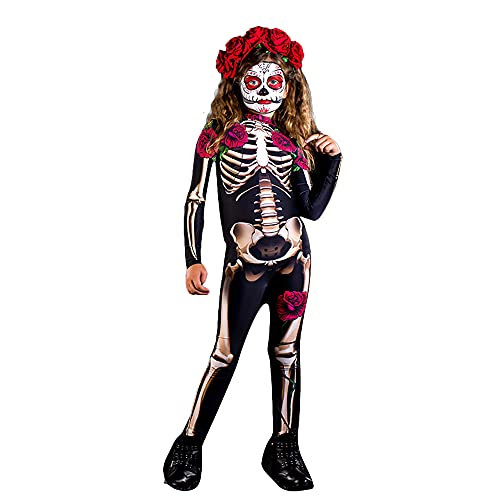 Women's Skeleton Bodysuit Halloween Cosplay Costume Pink Skull and Rose 3D Printing Jumpsuit for Aduit and Kids