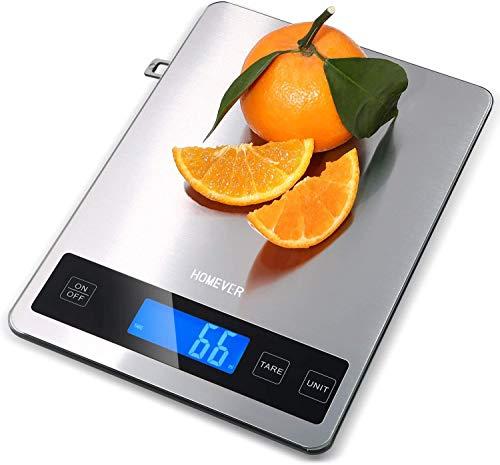 HOMEVER Básculas de Cocina, Smart Digital Báscula con Pantalla LCD para Cocina de Acero Inoxidable, Panel de 9 * 6.3 Pulgadas, Pantalla LCD con retroiluminación y precisión de 1g
