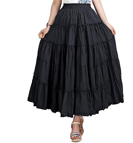 CoutureBridal Womens Elastic Tiered Boho Long Circle Broomstick Peasant Skirt Dance Black One Size