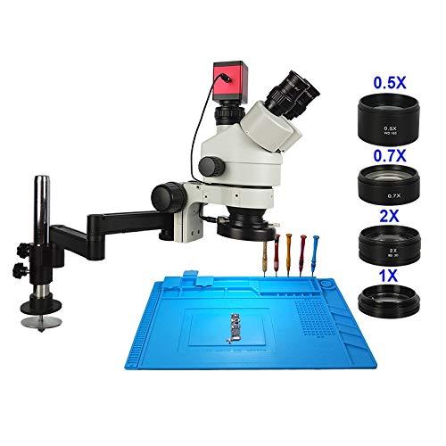 LIMEI-ZEN Microscope 13MP 3.5-90X Rotate Universal Arm Stand Trinocular Stereo Continus Zoom Microscope HDMI VGA Camera Phone Soldering Repair Tool (Color : 13MP White)