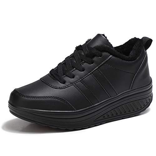 Zapatos Deporte Mujer Nieve Zapatillas de Deportivos Zapatos para Caminar Gimnasia Ligero Sneakers Invierno Plataforma Botas de Botines Negro Q 36.5EU = Fabricante:37