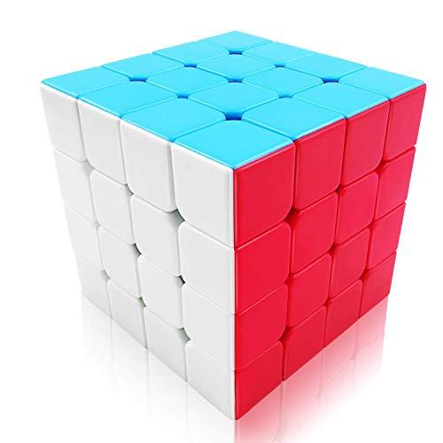 FAVINC Cubo de Velocidad 4x4 Stickerless Puzzle Cubo de Mágico for Kids, Qiyi Twist Travel Toys