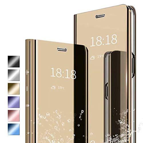 ANWEN Hülle für LG Q60 Handyhüllen,Flip Handy Hülle Cover PU+PC Schutzhülle Transluzent View Spiegel Anti-Schock Hülle mit Standfunktion für LG Q60-Gold