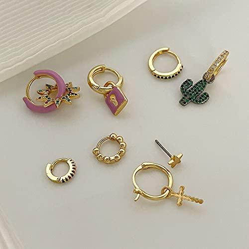 JIUXIAO Conjuntos de Pendientes de aro de Oro de latón delicados, Pendientes de Cruz de Cactus de circonita Bonitos, Pendientes de Bloqueo de Estrella Coloridos para Mujer