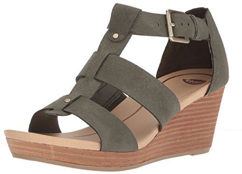 Dr. Scholl's Shoes Women's Barton Wedge Sandal, Green Snake Print, 6.5 M US