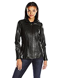 commercial Anne Klein Convertible Collar Leather Jacket, Black Small for Women with Zipper anne klein outerwear