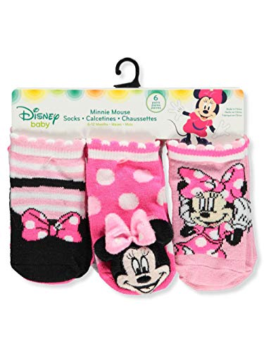 Disney Minnie Mouse Baby Girls' 6-Pack Crew Socks - pink/white, 6-12 months