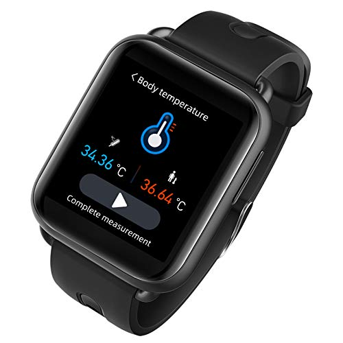 Smartwatch Fitness Armband Uhr mit Anzeige von Hauttemperatur-Trends Schrittzähler Pulsuhren Blutdruck SpO2-Monitoring Schlafmonitor, Fitness Tracker Sportuhr für iOS Android Damen Herren,Schwarz