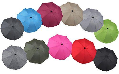 Clamaro 'SUNCOVER' Universal Sonnenschirm Regenschirm für Kinderwagen und Sport Buggy (11 Farben), Babywagen Schirm mit Universal Halterung mit 360° flexiblen Schwanenhals, Leinen Grau 7
